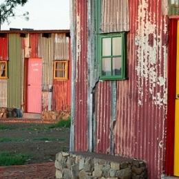 Slum-themed huts